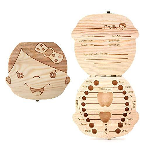Sierra - Boîte pour conserver les dents de lait des bébés, en bois de pin de l odeur agréable (femelle)