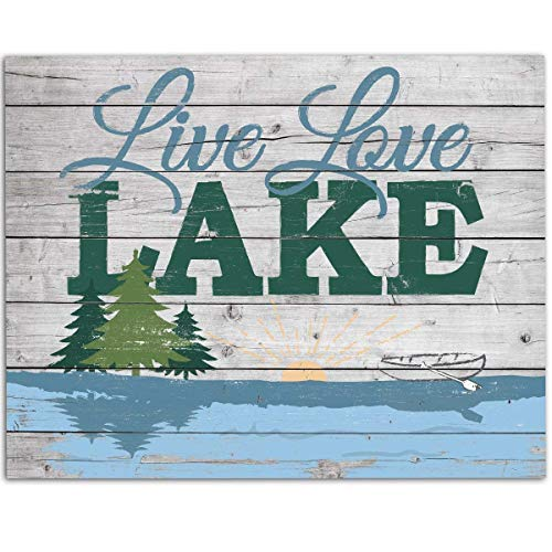 Live Love Lake - 11x14 Unframed Art Print - Great Cabin, Lake House Decor, and Gift Under $15 (Printed on Paper, Not Wood)