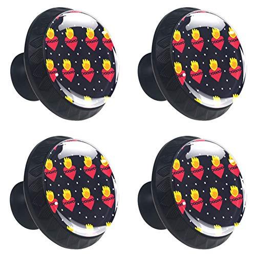 Tiradores de cajón con forma de corazón de piña, 30 mm, 4 tiradores de cristal para armarios de cocina y hogar