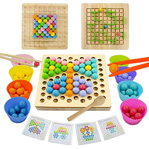 Juguetes Montessori Madera Juguetes Bebe Juegos de Mesa Puzzle Madera Clip Beads Puzzles 3D Juego de Laberinto Manos Cerebro Entrenamiento Regalos para Niños Puzzle 3 4 5 6 Años