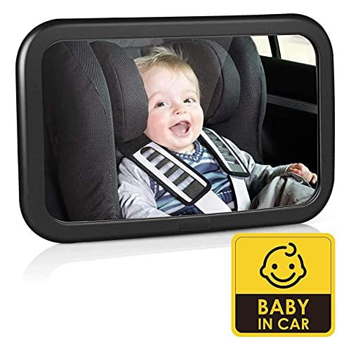 Espejo Retrovisor de Coche para Bebé - Espejo para Asientos Traseros para Vigilar el Bebé, 100% Inastillable, 360°Ajustable & Perfecta Imagen, Fácil Instalación y Buena Sistema de Sujeción