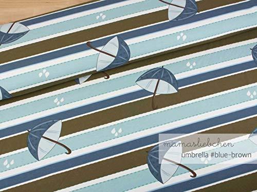 Mamasliebchen Jersey-Stoff Rainy Day Umbrella #Blue Brown (0,5m)