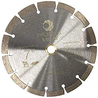Whirlwind USA LSS 7 inch Dry or Wet Cutting General Purpose Power Saw Segmented Diamond Blades for Masonry Brick/Block Pavers Concrete Stone (7