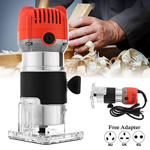 Router Tool Electric Hand Trimmer, Electric Wood Laminator Router Joiner Tool Hand,Electric Hand Laminate Trimmer Wood Router Joiner Tool Device 30000RPM 1/4'' 800W