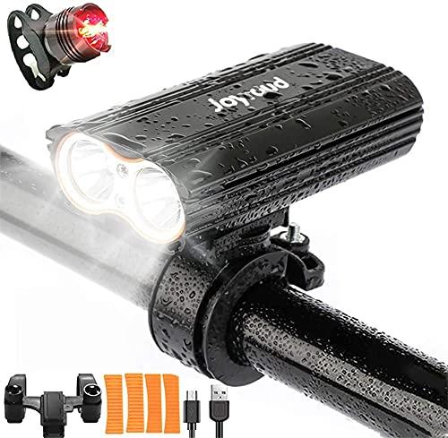 Joyroud LED Fahrradlicht Set Fahrradbeleuchtung, IPX65 wasserdichtes Hochleistungs Fahrradlicht, Mountainbike Frontlicht 3 Modi und Hecklicht