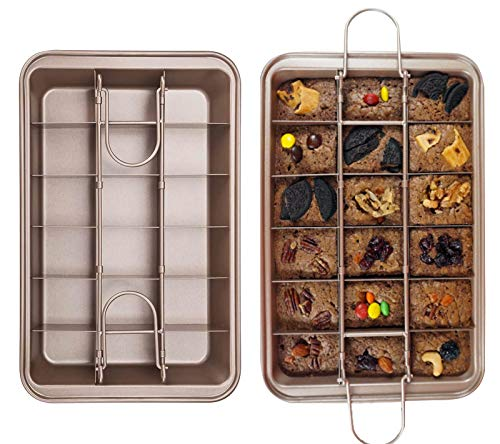 Brownie Pan, Non Stick Brownie Baking Tray with Built-in Slicer and Handle, 18 Pre-slicer Carbon Steel Bakeware, Cupcake Pan and Muffin for Oven Baking (1PACK)