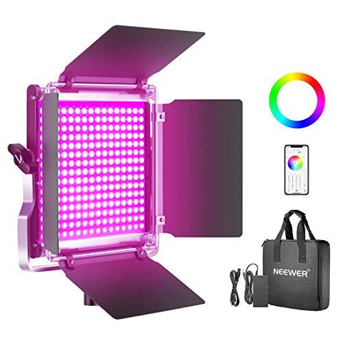 Neewer RGB Luce 480 LED SMD Controllo via APP, CRI 92, 3200-5600K, Luminosità 0% - 100%, 0-360 Colori Regolabili, 9 Condizioni Applicabili, con LCD Display, Staffa-U, Barndoor, Guscio in Metallo