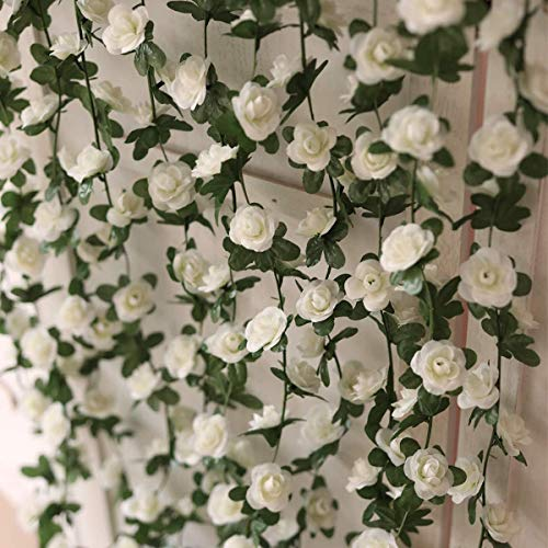 Ksnnrsng 4pcs falso Rose Vine Flores Vine Artificial Rose Vine Garland Boda Garland para Boda Fiesta Jardín Decoración de Pared (Blanco)