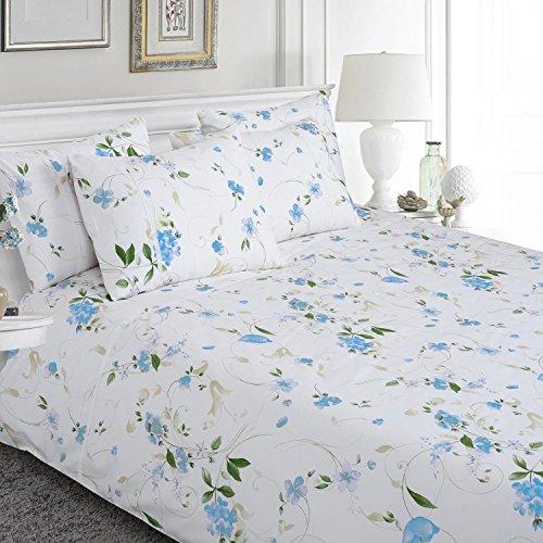 HOMESCAPES Parure de lit 2 Personnes 100% Coton à Motif Floral Bleu avec Housse de Couette 230 x 220 cm et 2 taies d'Oreiller 50 x 75 cm