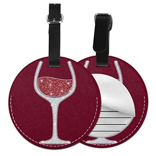 Kofferanhänger PU Leder Burgunder Rotwein Glas Wein Rot, Gepäckanhänger ID Etikett Mit Adressschild Namenschild für Reisetasche Koffer