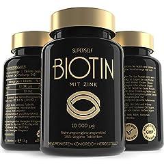 Biotine High Doses 10.000 mcg Capsules – 365 Vegan Biotine Tablets met Zink - Vitamine B7 voor Haar, Haargroei, Huid & Nagels - Gemaakt in EU & Laboratorium Getest*