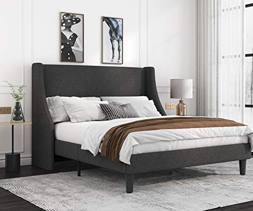 Allewie Full Size Modern Platform Bed Frame with Wingback/Upholstered Bed Frame with Headboard/Wood Slat Support/Mattress Foundation/Dark Grey(Full)