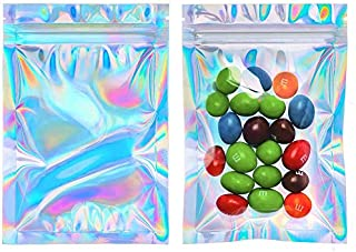 Cherodada 200 Pcs Smell Proof Bags Resealable Holographic Ziplock Bag for Party Favor Food Safe Storage Packaging Products...