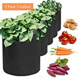 ME LUXE 5 Pack Plant Grow Bags Potato Planter Bags with Handles Aeration Tomato Fabric Plant Pots for Vegetable and Fruit Growing for Patio, Terrace, Courtyard, Garden (5 Gallon)