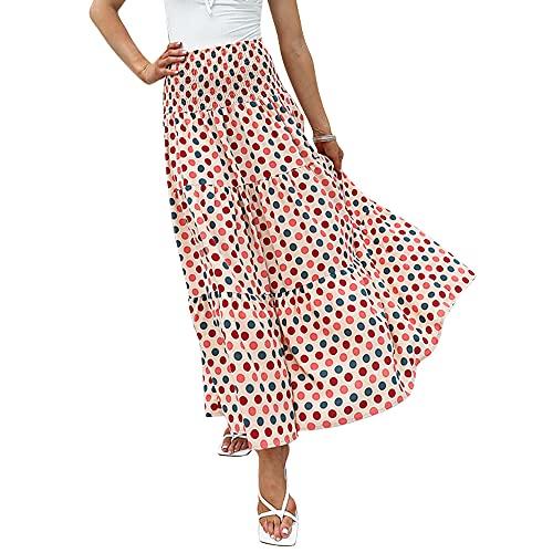 Exlura Women's 2-in-1 Boho Skirt or Tube Dress - High Waist Pleated Elastic Waistband Flowy Beach Party Long Maxi Skirt