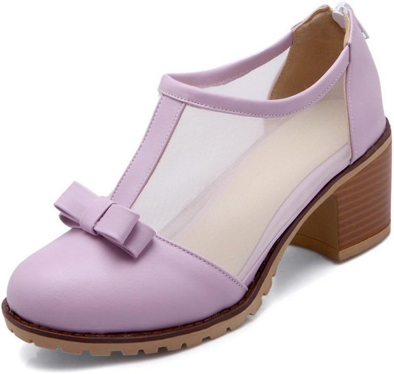 1TO9 Womens Zipper Spun gold Bowknot Purple Soft Material Pumps-shoes - 10 B(M) US