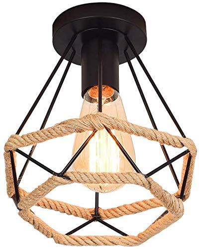E27 Lámpara de Techo Industrial Semi empotrada de techo Vintage Iluminación de metal con cuerda de cáñamo para pasillo Cocina de comedor (la bombilla no está incluida)