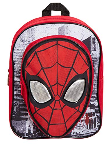 51RdGdMyRvL - Marvel Spiderman - Mochila para niños con bolsillo, diseño de Los Vengadores, ojos reflectantes, color azul, Rojo (Rojo…
