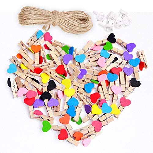 Thinktoo 50pcs Love Heart Small Wooden Clothespin Craft Clips DIY Photo Cards Peg Gifts Xmas Decorations Big Sale