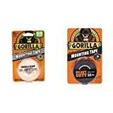 Gorilla Tough & Clear Double Sided Mounting Tape, 1' x 60', Clear, (Pack of 1) & Heavy Duty Double Sided Mounting Tape, 1' x 60', Black, (Pack of 1)