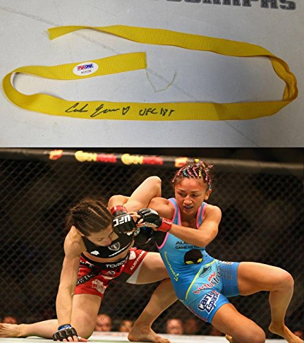 Carla Esparza Signed UFC 185 Fight Worn Used Hair Ribbon COA vs Joanna J - PSA/DNA Certified - Autographed Event Used Products