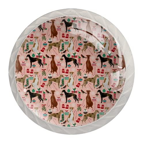 Manijas para cajones Perillas para gabinetes Perillas Redondas Paquete de 4 para armario, cajón, cómoda, cómoda, etc.. Galgos Tela navideña Perros navideños Telas navideñas Perros navideños navideños