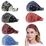 Carede Paisley Bandana Headband for Women with Elastic Yoga Headband Outdoor Hairband Adjustable Turban Headwrap,Pack of 6