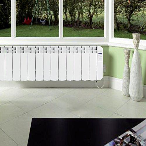 Haverland RC11BL - Radiateur électrique à inertie fluide caloporteur programmable 1250W, idéal pour espaces réduits, indicateur de consommation, utilisation 1-6h/jour, +/- 13-19 m², Blanc