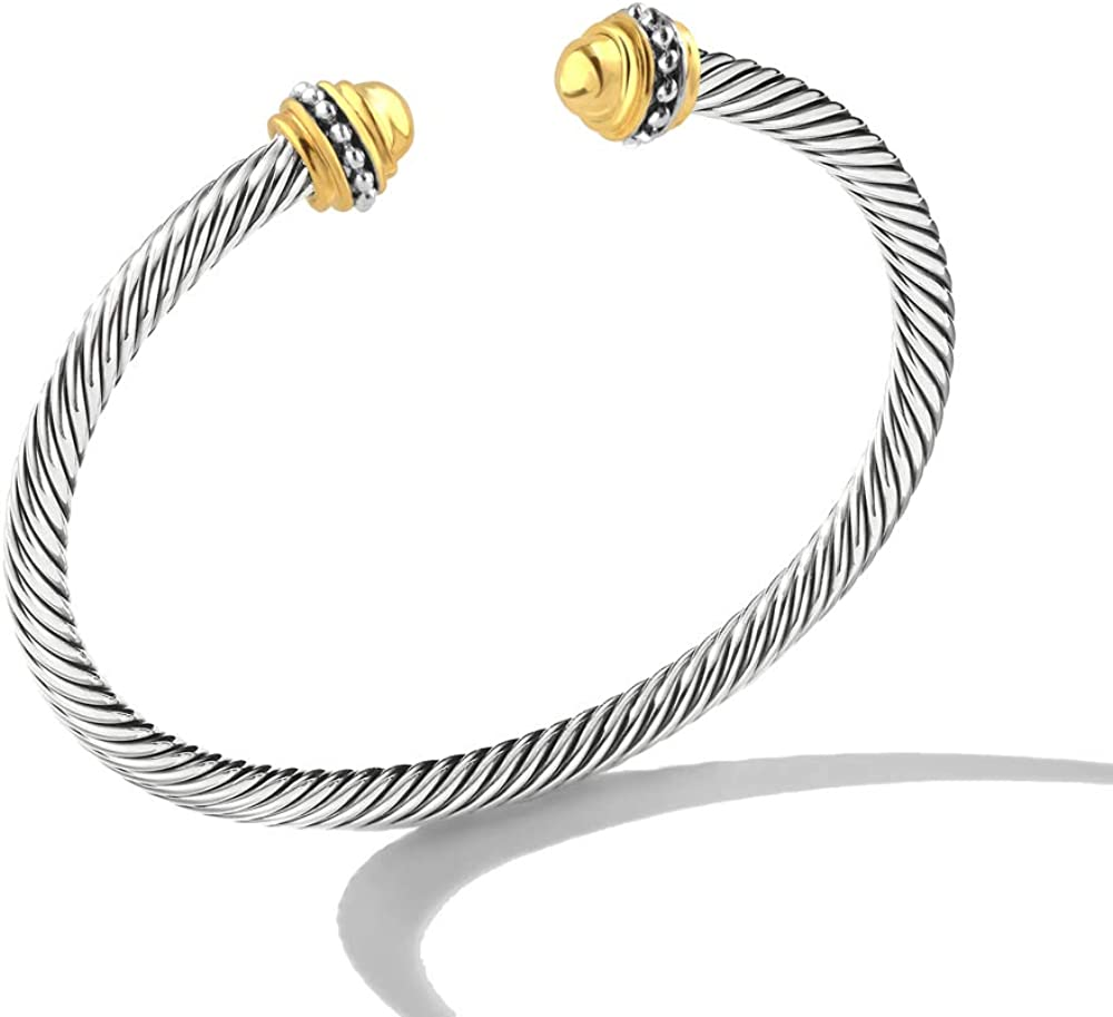 Mytys Cable Wire Cuff Bangles for Women,Mytys Retro Antique Gold Cable Bracelet Christmas Gift Bangle for Women