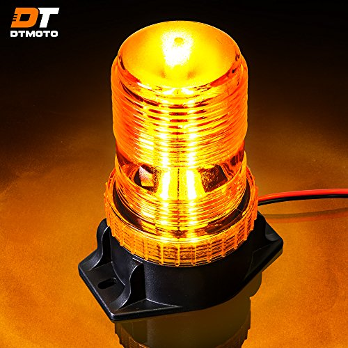 DT MOTO 15W Amber LED Emergency Warning Flashing Safety Strobe Beacon Light for Forklift Truck Tractor Golf Carts UTV Car Bus