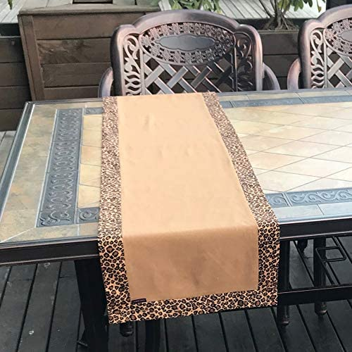 Sand Flower Brown Earthy Camel Leopard Print All Match 48 Inch Dining Coffee Table Runner product image