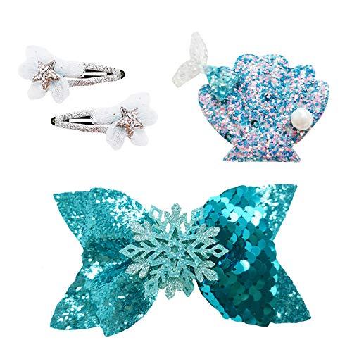 PTN Haarnadel-Set für Kinder, Aihua eu Mädchen Pailletten Bogen Haarspangen, Prinzessin Blau Bogen Haarnadel, Kindergeschenk Geburtstagsgeschenk, Mädchengeschenk