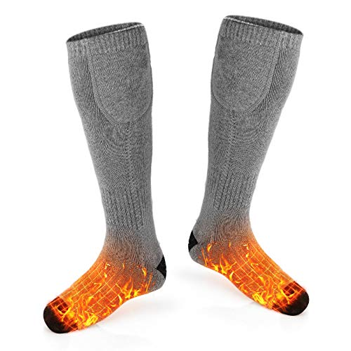 Balhvit Heated Socks for Men Women-Rechargeable Electric Socks, Up to 10 Hours Heating Socks with 3 Heat Settings, Washable Warm Winter Cotton Thermal Socks for Hunting Camping Skiing Hiking Sleeping
