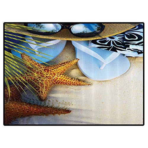 Beach Hawaiian Area Rug Dream on The Beach Seashell Starfish Sea Star Sunglasses Flip Flop Slippers and a Hat with Exotic Palm Trees Living Room Carpets for Children Bedroom 4x6 Feet
