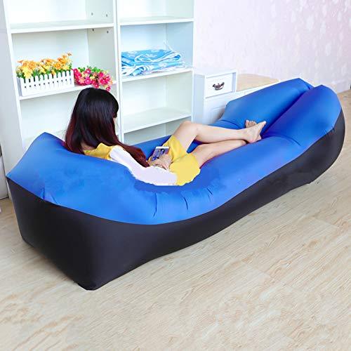 XUE-SHELF Lazy Aufblasbares Sofa für Erwachsene, Strand, Lounge-Stuhl, schnell zusammenklappbar, Camping-Schlafsack, wasserdicht, aufblasbares Sofa-Tasche, Lazy Camping-Schlafsack, Luftbett, blau