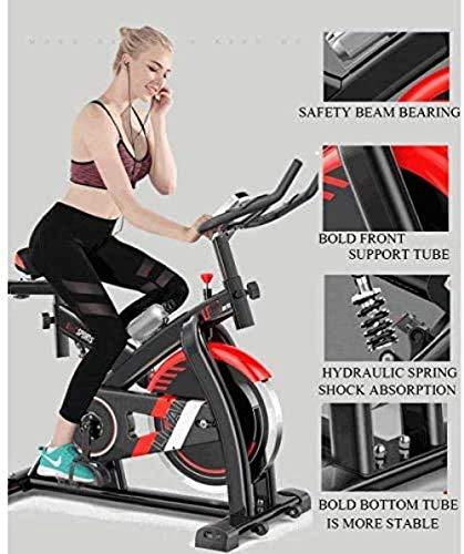 Bicicleta estática estática con cinturón volante con monitor de ritmo cardíaco para uso en casa y gimnasio, entrenamiento cardiovascular, color blanco-A