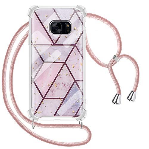 Greneric Handykette Hülle für Samsung Galaxy S7, Marmor Glitzer Necklace Hülle mit Kordel Transparent Silikon Handyhülle mit Kordel zum Umhängen Schutzhülle mit Band in Roségold