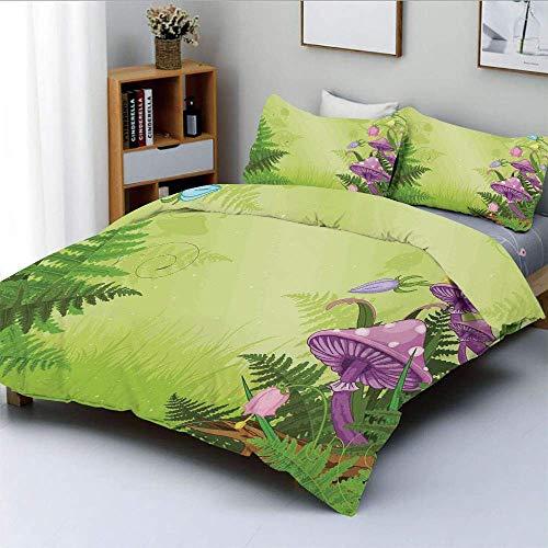 Juego de funda nórdica, paisaje mágico con setas y flores en el bosque fresco, estampado de dibujos animados de helechos Juego de cama decorativo de 3 piezas con 2 fundas de almohada, verde morado, el