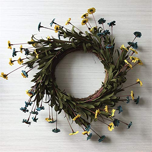 ZHENXI Wreath, Artificial Flowers Yellow Blue DaisyWreath Spring Wreath Outdoor for Front Door