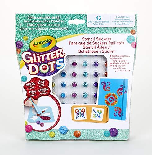 Crayola Glitter Dots - Set Stencil Adesivi, per Giocare e Creare con il Glitter Modellabile, Attività Creativa e Idea Regalo, 04-0802