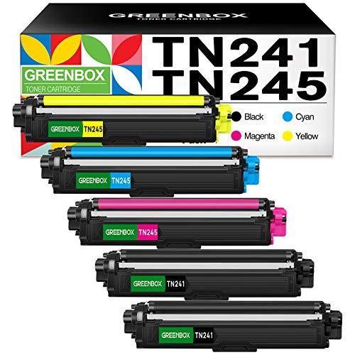 GREENBOX Kompatibel 5pcs TN241 TN245 Toner Patronen Alternativ zu Brother TN-241 TN-242 TN-245 TN-246 Tonerkartusche für MFC-9340CDW MFC-9330CDW MFC-9140CDN HL-3170CDW HL-3150CDW HL-3140CW DCP-9020CDW