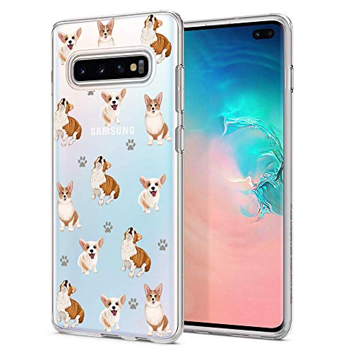 Unov Galaxy S10 Case Clear with Design Soft TPU Shock Absorption Embossed Pattern Slim Protective Back Cover for Galaxy S10 6.1in (Puppy Dog)