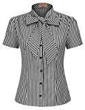 Belle Poque Short Sleeve Basic Simple Button-Down Shirt with Bow Tie M, Black Stripe