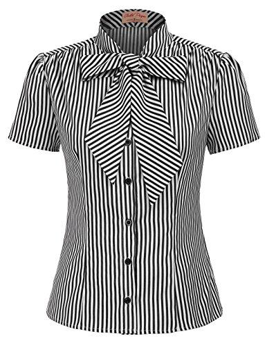 Belle Poque elegant Vintage Retro Streifen Oberteil Damen Kurzarm Tops Sommer Casual Hemd M BP573-1