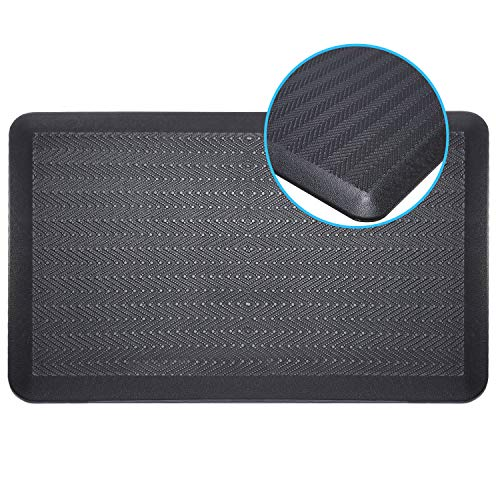 Mornyoung Anti Fatigue Kitchen Mat - Anti Fatigue Mat for Kitchen, Office,Non-Slip Cushioned Comfort Floor Mat for Standing Desk 3/4 Inch Thick Ergonomic Support Floor Mat-20'x32'(Wave Texture,Black)