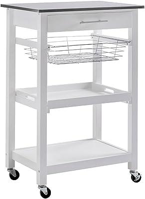 SJ Collection Linden Kitchen Cart-White