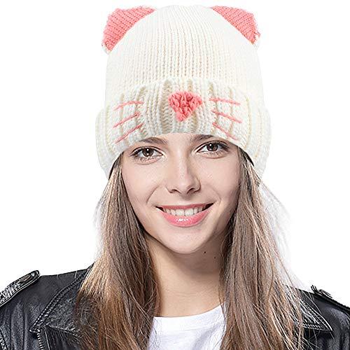 Tacobear Bonnet Femme Hiver Tressé Tricot Casquette Chapeaux Bonnet Crochet avec Chat Oreille Hiver...