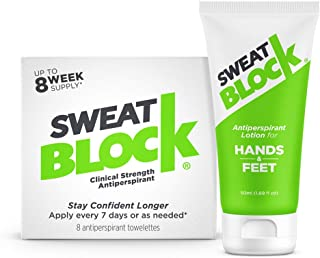SweatBlock Antiperspirant Bundle Deal, Wipes (1 box) and Lotion (1 box), Proven to Reduce Excessive Sweating and Smelly Feet, Safe, Effective, FDA Compliant Anti-Sweat Lotion for Women and Men