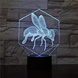 bee-3D LED Night Light, 3D Visual Illusion Vision Light 16 Color Gradient Intelligent Remote Control Desk lamp as a Gift for Children, Baby Decoration Night Lamp