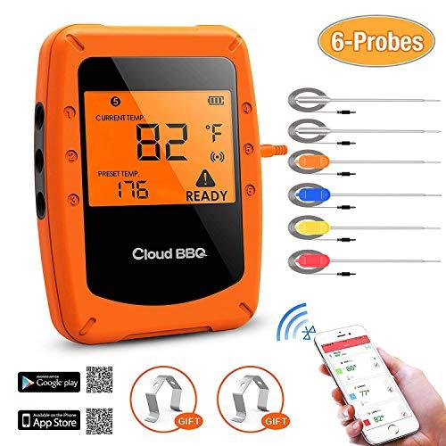Termometro Cucina con 6 Sonde in Acciaio Inossidabile Wireless Termometri Digitali Intelligente Bluetooth Controllo Timer Alta Precisione Grande Schermo Chiara Lettura per Alimenti Liquidi Barbecue